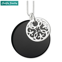 Flower Ornament & Black Onyx Disc Pendants Necklaces,Trendy Style 925 Sterling Silver Gift Glam Brand Fashion Jewelry For Women