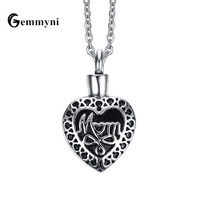 Necklace For Ashes Heart Mom Necklace Chain Locket Cremation Urn Keepsake Box Memorial Pendant Antique Silver Retro Jewelry