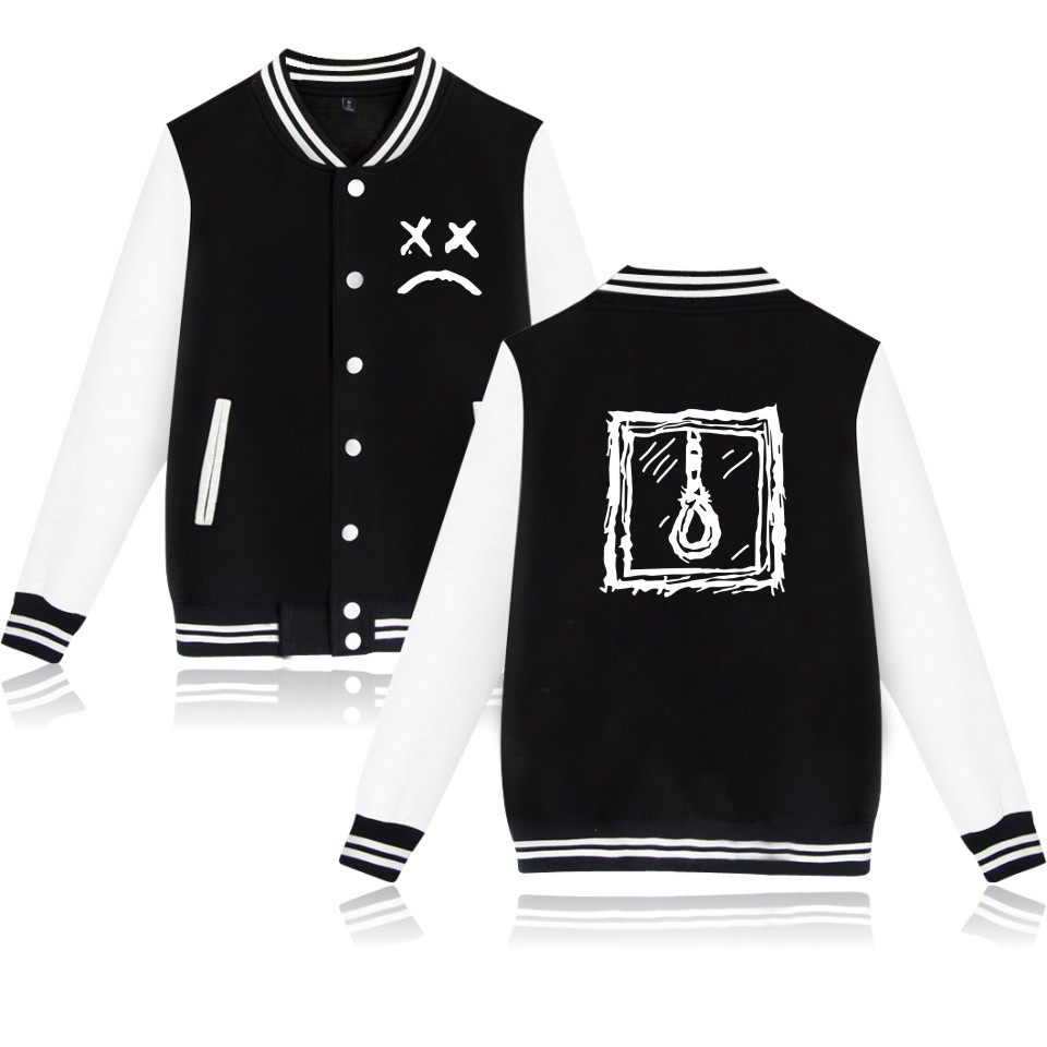 Lil Peep Jackets Men/women Autumn Winter Solid Baseball Jacket Lil Peep Hipster Big Size 4XL Outwear Tracksuits Jersy Coat