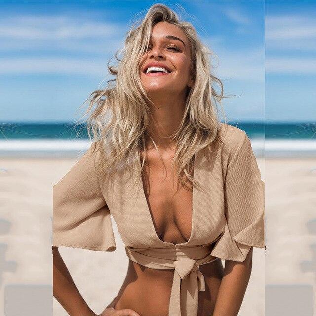 2016 Novas Mulheres Da Moda Sexy cortadas feminino Profundo decote em V Chiffon Top colheita Sexy Tanques Blusa Top 3 Cores Disponíveis Frete Grátis