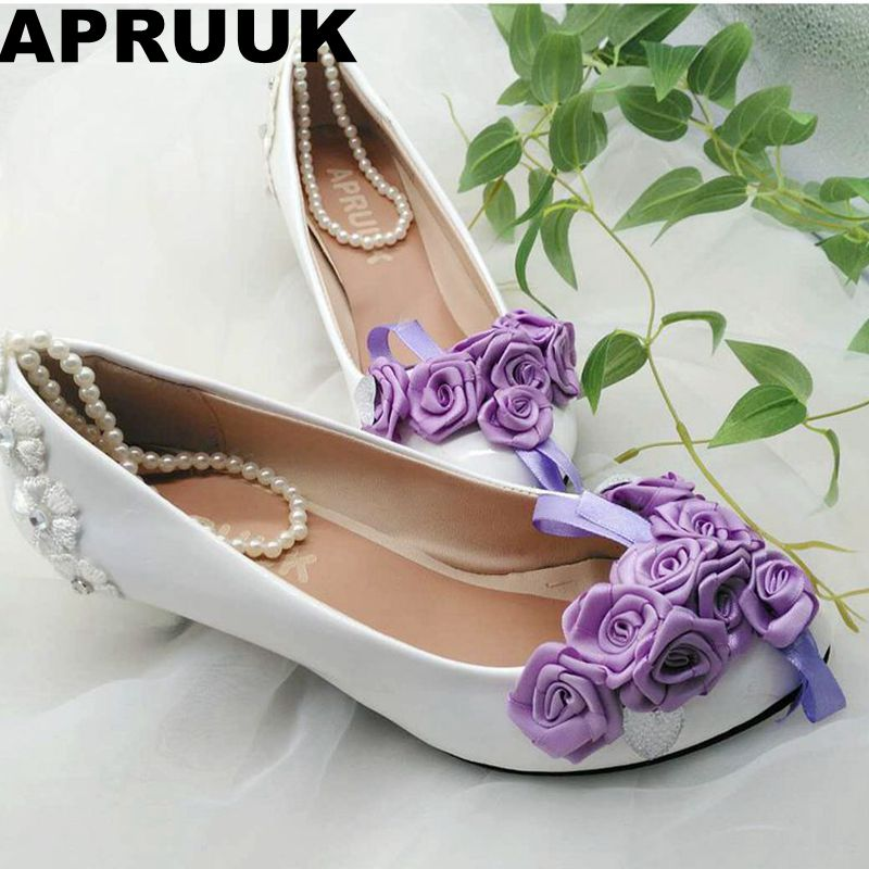 Beading ankle strap cute purple flower wedding shoes bride med heel bridal shoes wholesale retail evening party purple rose pump sorbern white beading ankle strap cute flowers wedding shoes med heels bridal shoes wholesale women shoes party and evening shoe