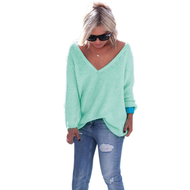 Mujeres Knit Sweater Pullover Outwear Solid Casual Manga Larga Con Cuello En V C