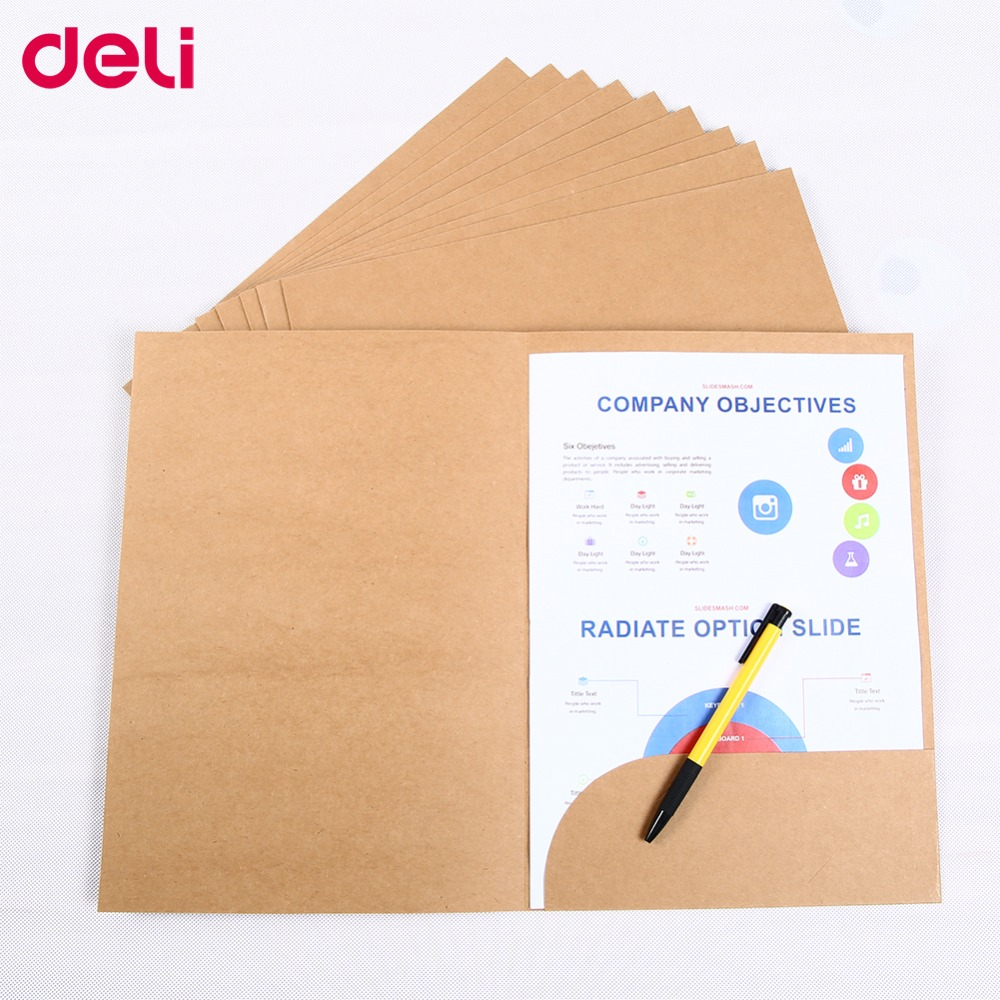Deli Special Kraft Paper Book Cover File Holder A4 10pcs/Set Good Quality Paper Protector Paper Folder Protect Important Files