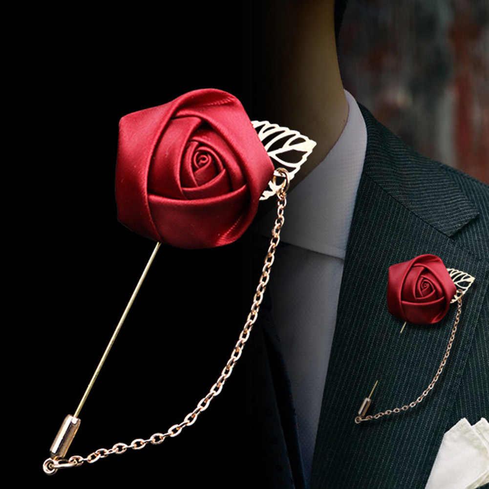 2017 Pria Sesuai dengan Daun Emas Mawar Bros Korsase Bunga Panjang Jarum dengan Rantai Buatan Tangan Lapel Pin Bros