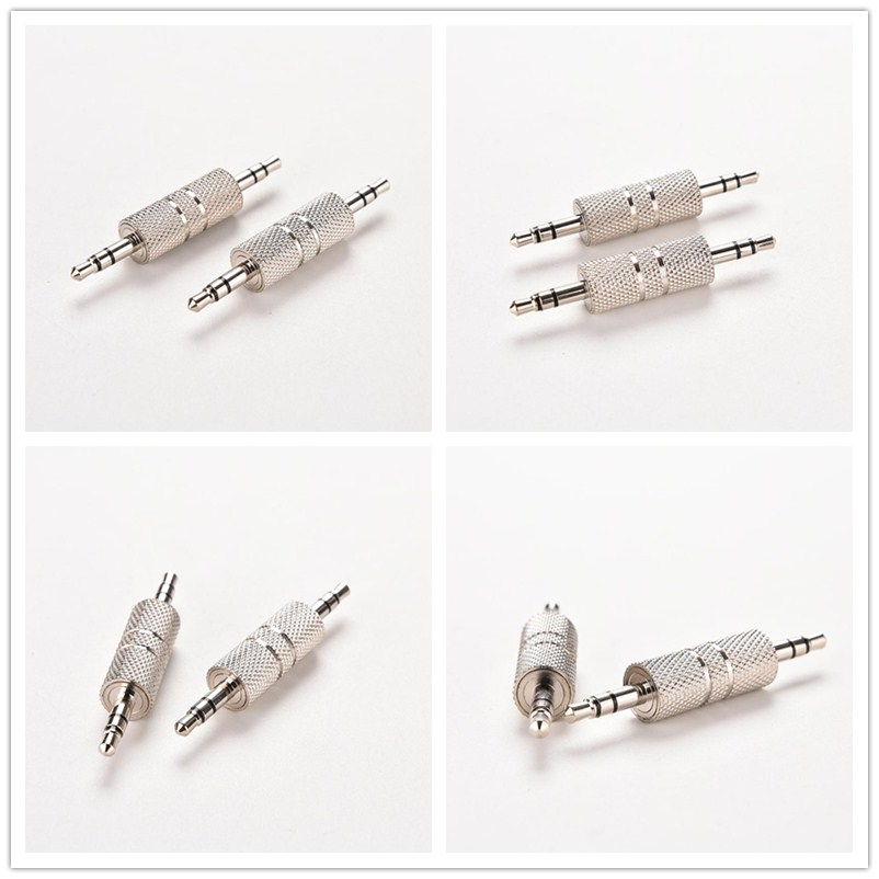 JETTING 1pcs Sliver 3.5mm Stereo Male to Male Audio Jack Plug Headphone Adapter Jack Coupler Connector