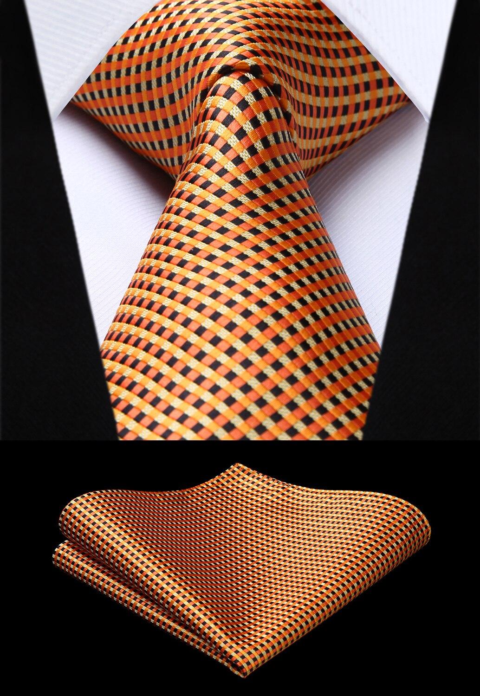 Party Wedding Classic Fashion Pocket Square Tie Woven Men Orange Tie Plaid & Check Necktie Handkerchief Set#TC629N8S
