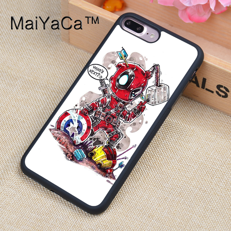 MaiYaCa Deadpool Vs The Avengers Funny Soft Rubber Fitted Cases For iPhone 8plus Cover OEM For Apple iPhone 8 plus Back Shell
