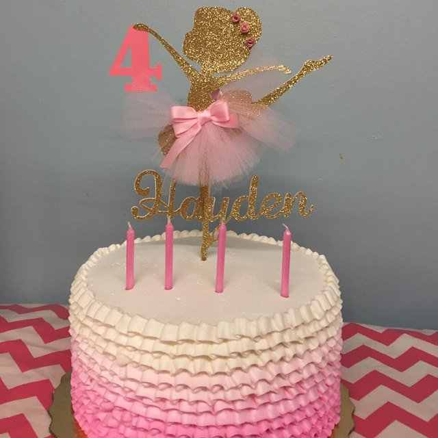 Incredible Personalized Age Girls Ballerina Birthday Party Cake Topper Gold Personalised Birthday Cards Epsylily Jamesorg