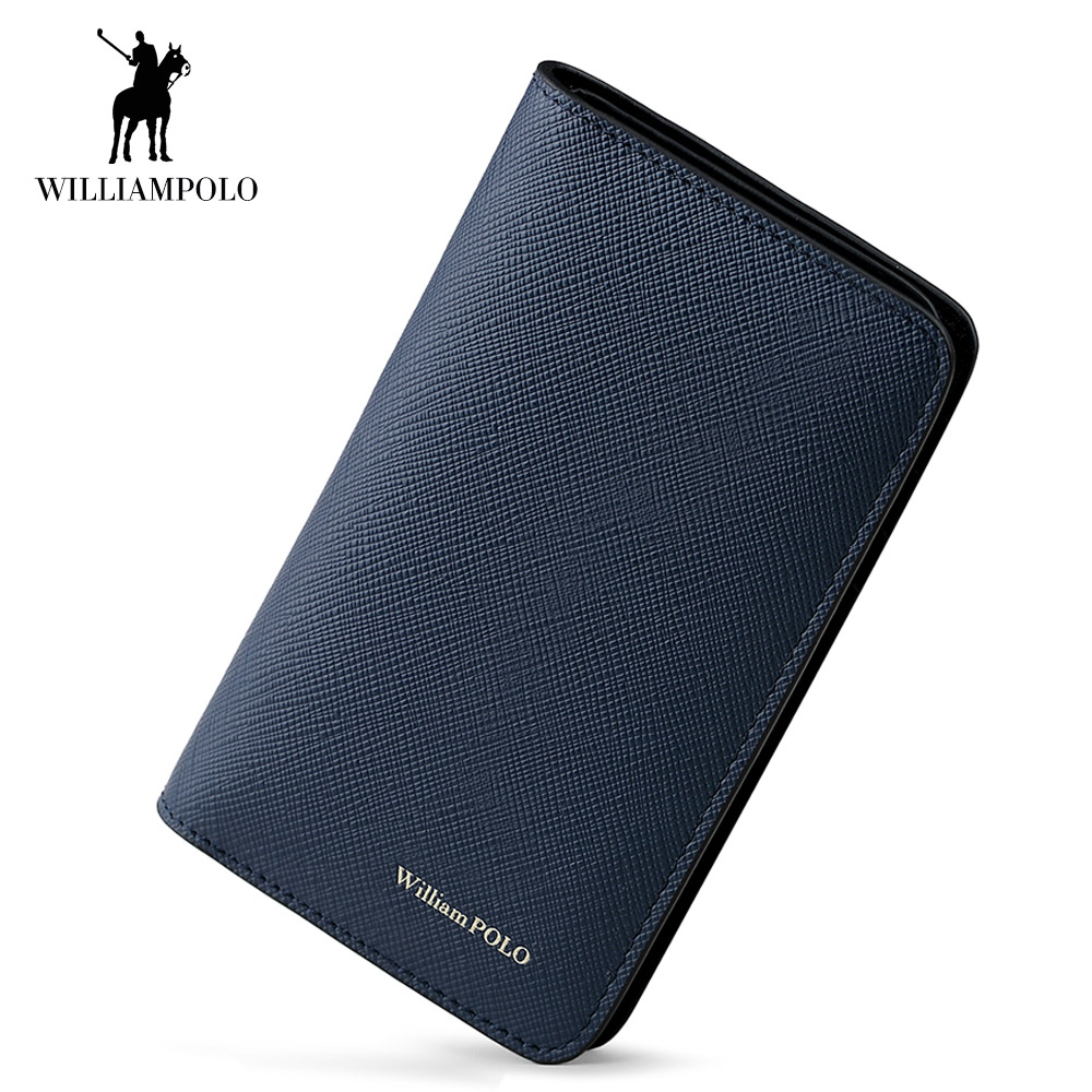 WilliamPOLO Men Wallet Short Credit Card Holder Genuine Leather 2018 Small Mini Multi-card Case Organizer Purse Men Money Bag