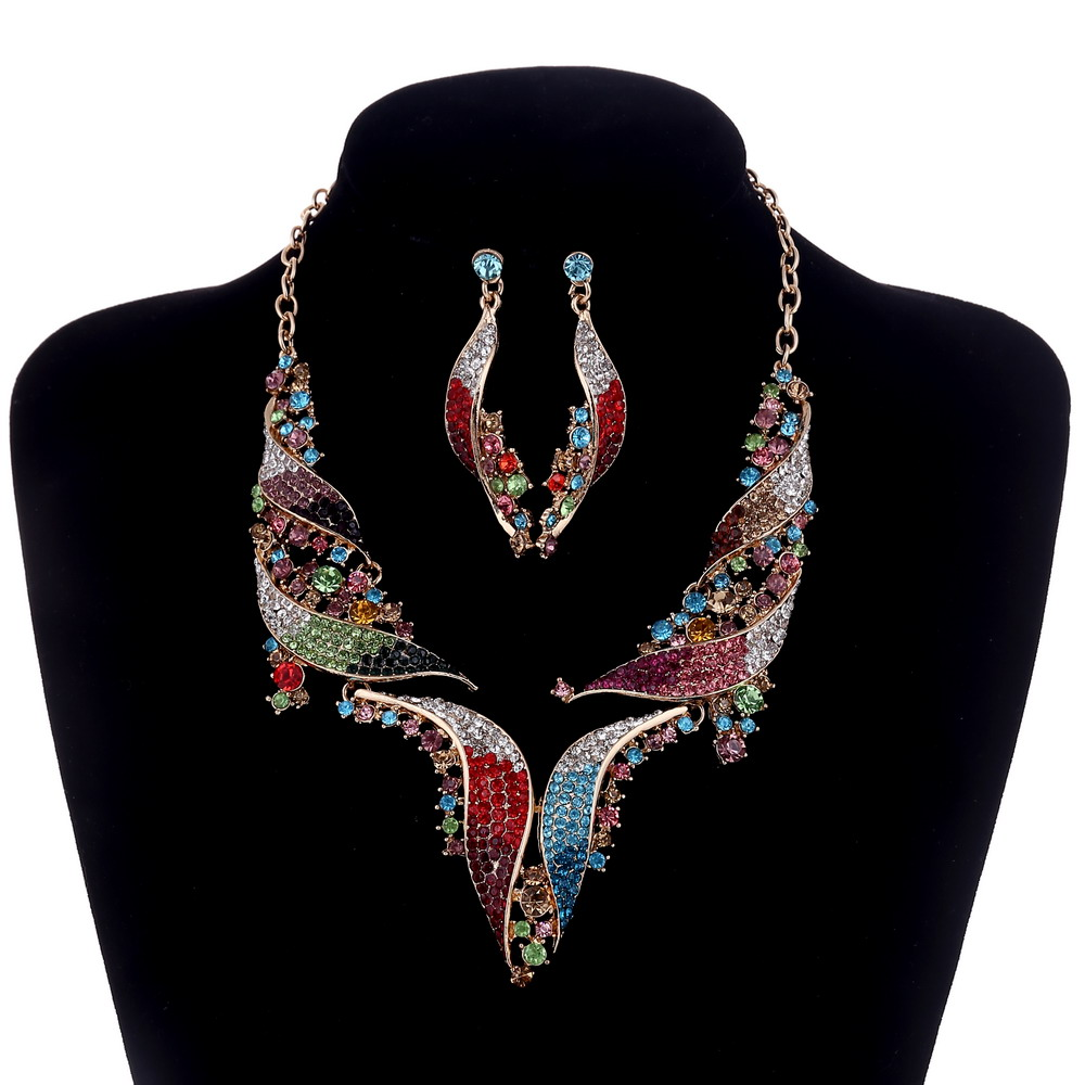 Wedding Jewelry Gold Austria Crystal Leaf Shape Necklace and Earring for Women Elegant Bridal Jewelry sets QXQ-G002