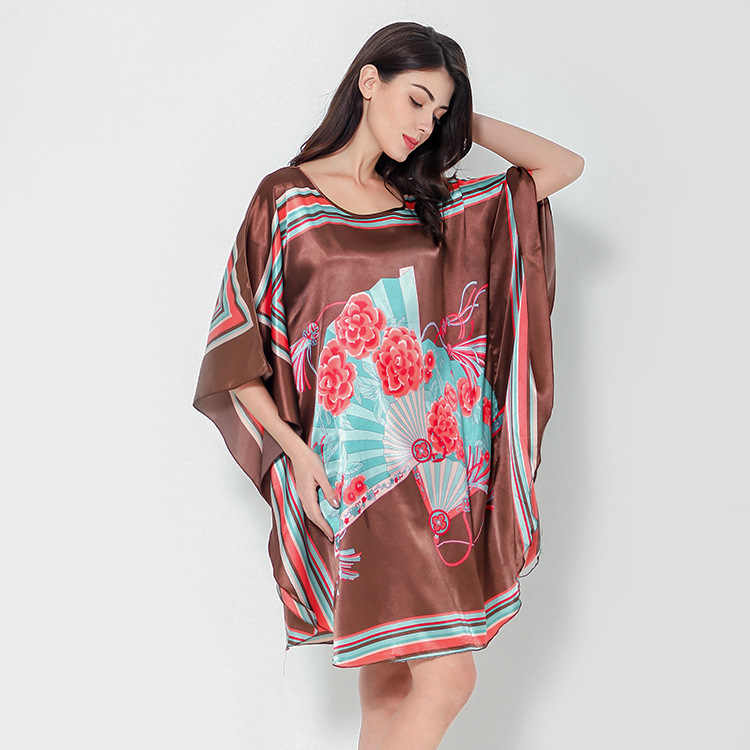 b53e3ad16caa1 Hot Sale Black Female Satin Robe Dress Nightgown Novelty Women's Kaftan  Bath Gown Summer Lounge Homewear Plus Size 6XL NB053