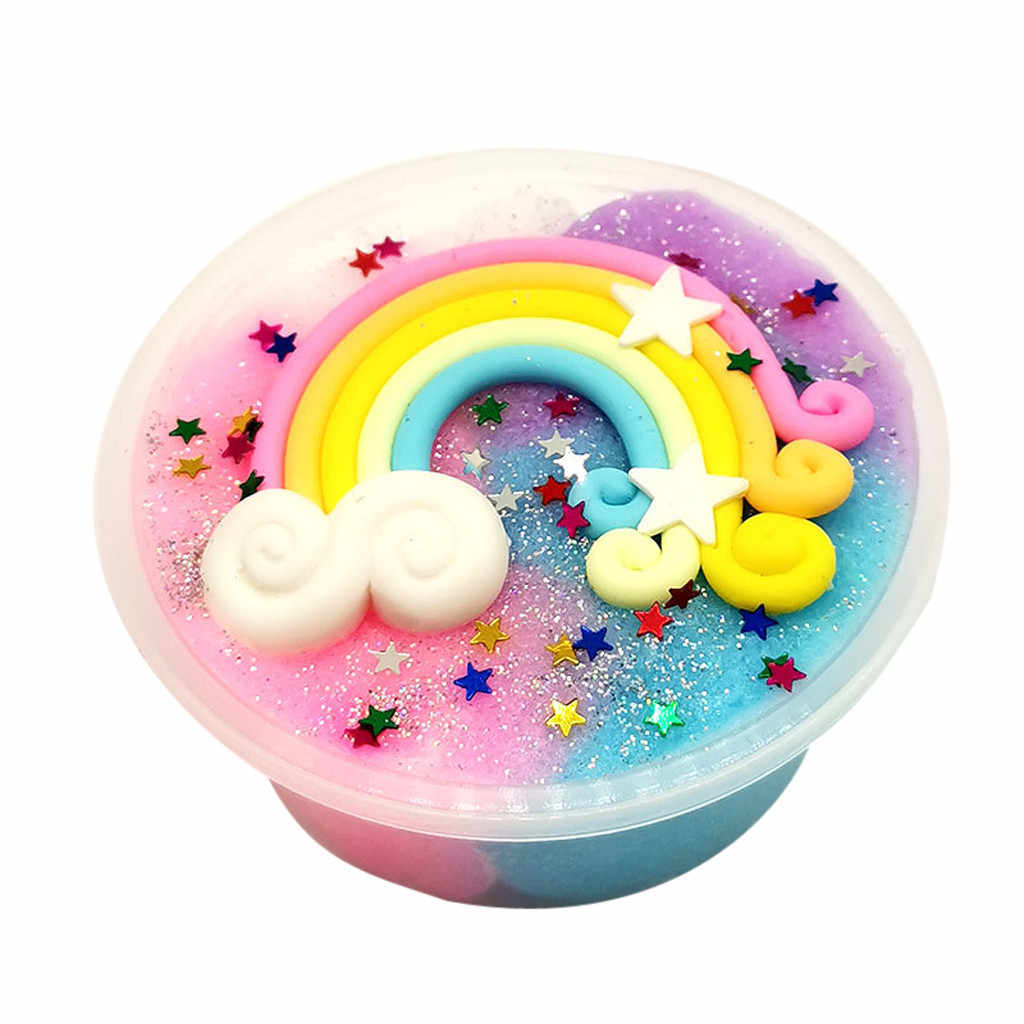 Beautiful Rainbow Mud Mixing Cloud Slime Putty Scented Stress Kids Clay Toy