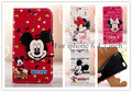"1pc New fashion Flip Leather Wallet Card Pouch Mickey Mouse Minnie Cute Cartoon Cover Case for iphone 6 6G 4.7"" Mobile Phone Bag"