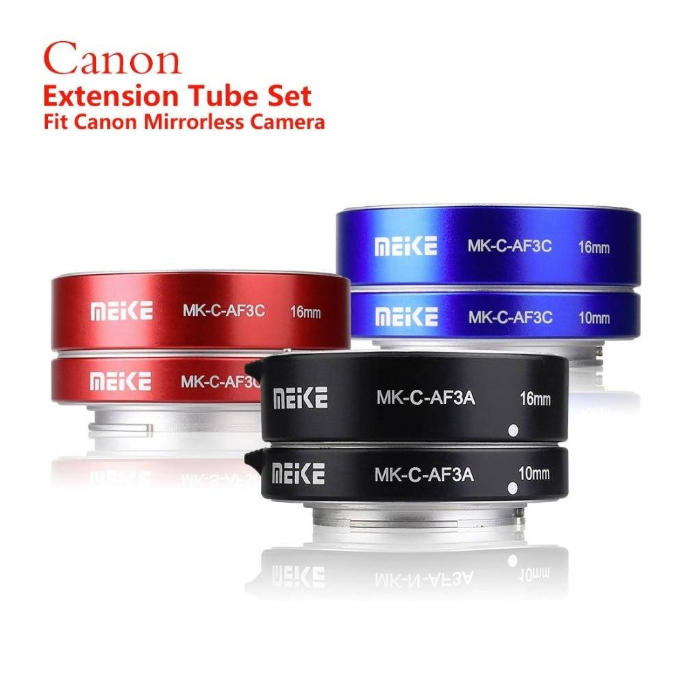 Meike MK-C-AF3A chaude en métal mise au point automatique AF Macro Extension Tube ensemble 10mm 16mm pour Canon M caméra de montage