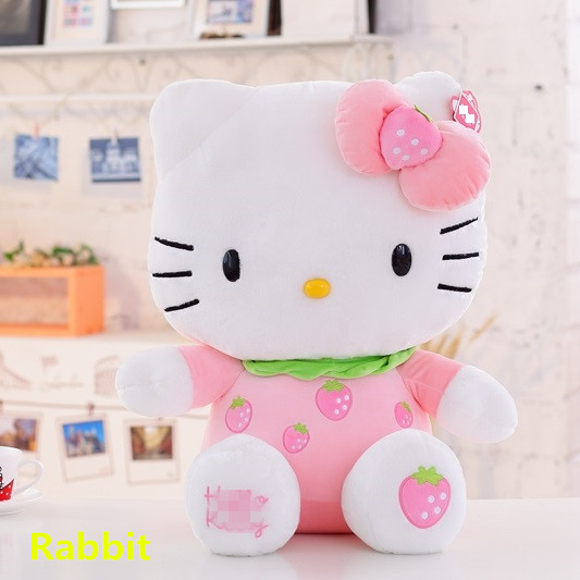 7 inch Adorable Plush Pink color bowknot Dress Sit Hello Kitty Plush Doll Toy with Strawberry For christmas party gift