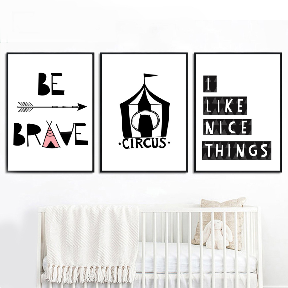 7-Space Cartoon Canvas Painting Modern Wall Art Brave Quotes Posters And Prints Pictures Living Room Kids Decor No Frame