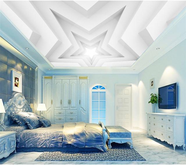 Us 13 64 38 Off Aliexpress Com Buy Beibehang Custom Living Room Bedroom Ceiling Wallpaper Mural 3d White Pentagram Ceiling Background Wall 3d
