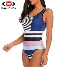 DropShipping Women High Waist Colorblock One-piece Swimsuit 2019 Female Siamese Sexy Striped Bikini Swimwear Bathing Suit Pink