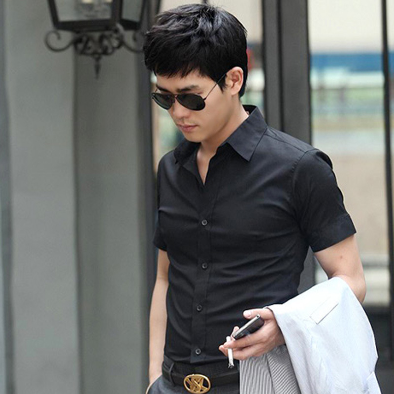 2019 Europe And The United States Slim Men's Solid Color Shirt Fashion Casual Men's Short Sleeve Shirt