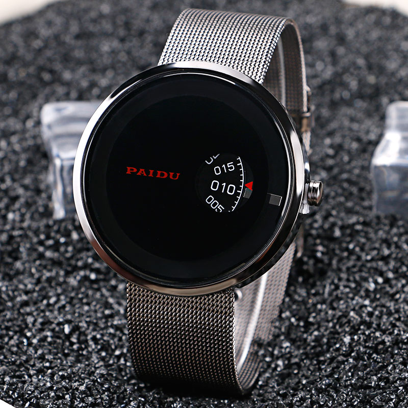Fashion Brand PAIDU Turntable Design Wristwatches Casual Men Women Quartz Watch with Stainless Steel Mesh Band