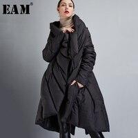 [EAM] 2018 Новый Осень Зима v образный вырез с длинным рукавом черный свободный большой размер нерегулярное однотонное пальто Женская куртка мо