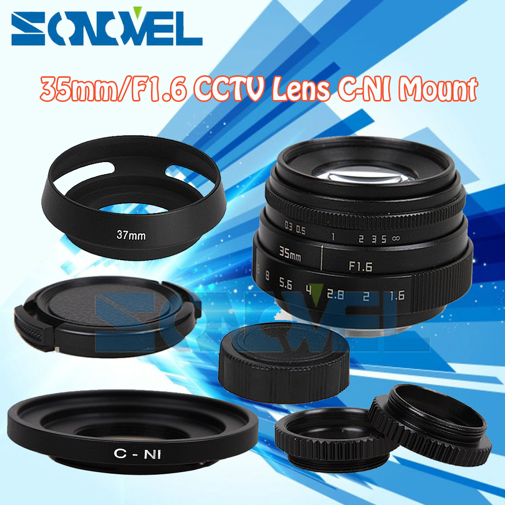 Fujian 35mm F1.6 CCTV Lens C Mount+Lens Hood+Macro ring For Nikon 1 AW1 S2 J4 V3 J3 V1 J1 J2 J5 mirrorless Camera цена