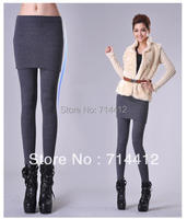 Female Solid Thickening Legging Skirt Winter Plus Velvet Lady Faux Two Piece Culottes Legging Thermal Elastic Boot Cut Jeans