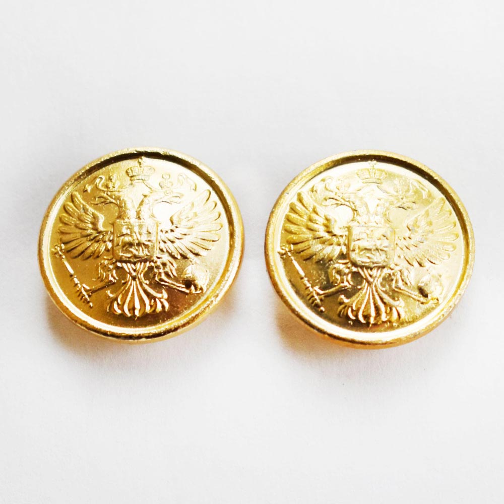 Pair Of Russian Military Imperial Double-Headed Eagle Metal Buttons 20 Mm-50046
