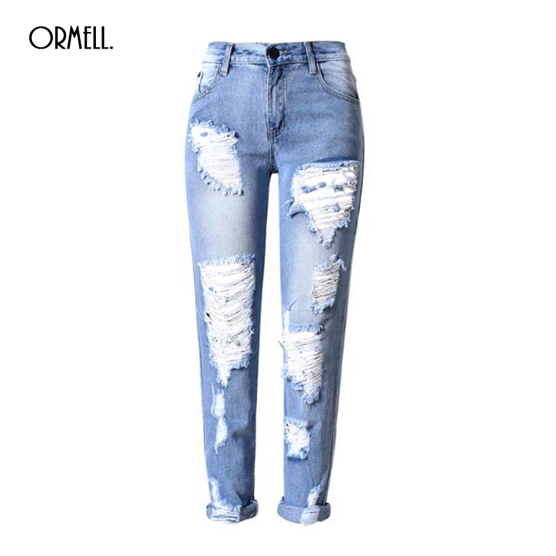 Summer Autumn New Fashion Cotton Jeans Women Mid Waist Washed Vintage Big Hole Ripped Long Denim Pencil Pants new 2016 fashion brand women washed denim casual hole romper jumpsuit overalls jeans macacao feminino vintage ripped jeans