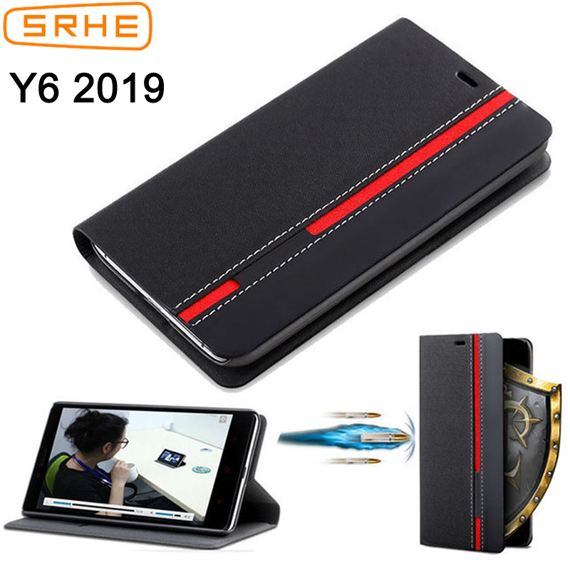 SRHE For Huawei Y6 2019 Case Flip Leather Silicone Cover MRD-LX1 With Card Holder