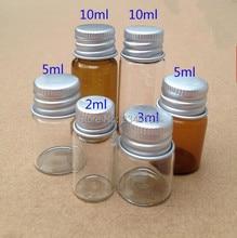 2ML 3ML 5ML 100pcs Amber Clear Medical Glass Vials With Aluminum Screw Cap Liquid Injection Bottles Powder Packaging Bottles