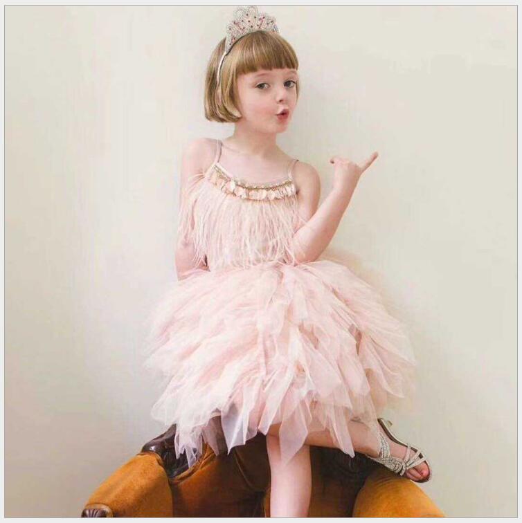 Luxury baby girls feather tutu dress children girls beading sequins sling summer dress fashion kids tulle