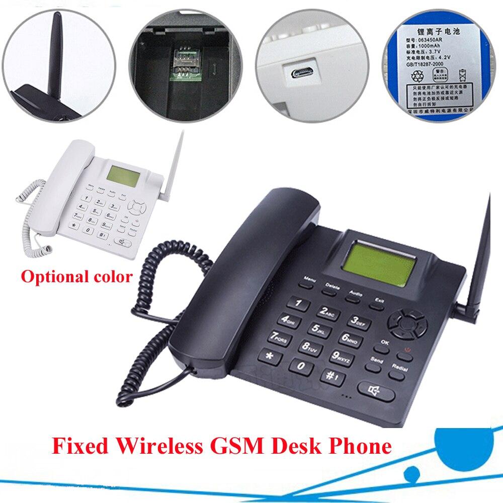 Noir fixe sans fil GSM bureau téléphone Quadband SIM carte SMS fonction bureau téléphone combiné russe français espagnol portugais