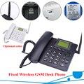 Preto Fixo Sem Fio GSM Telefone de Mesa Quadband Cartão SIM SMS Função de Desktop Telefone Celular Russo Francês Espanhol Português