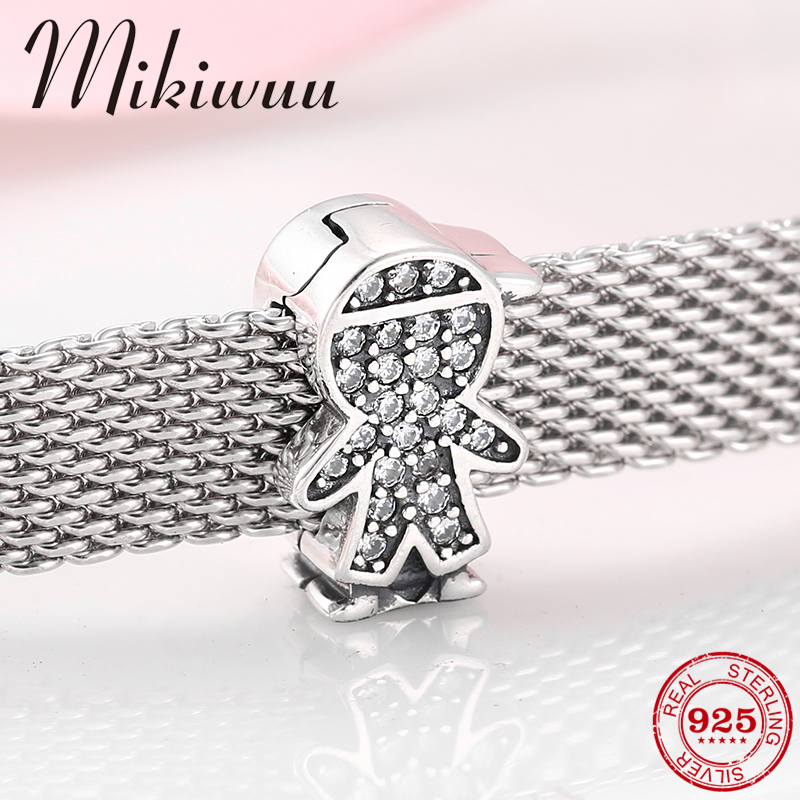 925 Sterling Silver Cute Little Boy Clear Crystal CZ Clips Beads Jewelry Making Fit Original Reflection Bracelet Charms