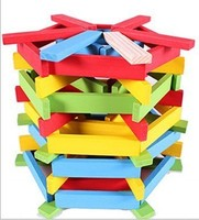 140pcs Set Educational Fun Geometry Rhombus Tangrams Logic Puzzles Wooden Toys For Children Training Brain IQ