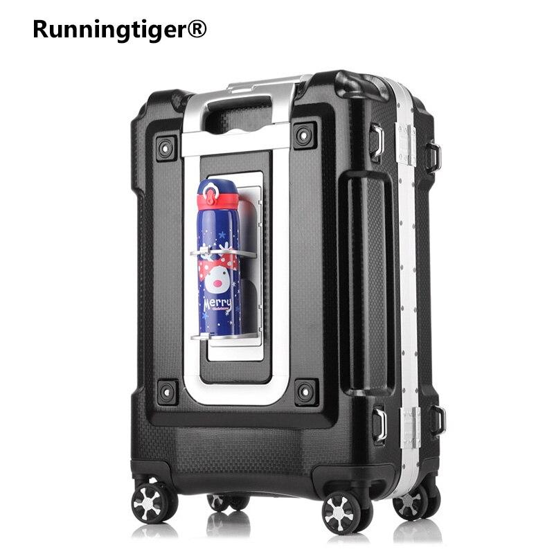 Металлический каркас чемодан для переноски чашки держатель багажа на колесиках Мода TSA женский чемодан 20 24 29 вращающаяся коробка интернат