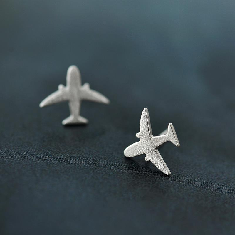 925 Sterling Silver Plane Stud Earring Jewelry Luxury Women Party Airplane Gift Spring Engagement Cute Lady Aircraft In Earrings From