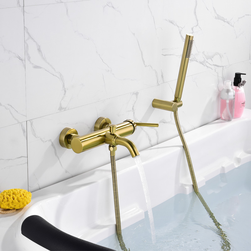 Solid Brass Brushed Gold Bathtub Faucet Wall Mounted Bathroom Shower Faucet Handheld Shower Hot and Cold Bath Mixer
