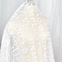 White English Alphabet Embroidered Lace Fabric Wedding Dress Fabric Handmade DIY Material Clothing Decoration Accessories