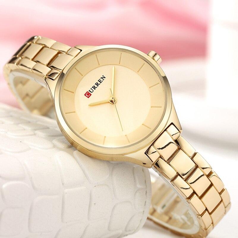 Curren Women Watches Luxury Gold Black Full Steel Dress Jewelry Quartz Watch Ladies Fashion Elegant Clock Relogio Feminino 9015 цена