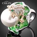 El envío Libre Rodio Plateado Aleación de Zinc Esmalte Promoción Joyería de Moda Diseño de la Rana de Cristal Perla de Faux Anillos de Dedo Para Las Mujeres