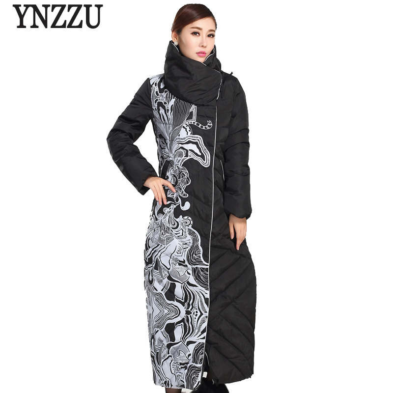YNZZU Elegant Winter Jacket Women 2018 Extra Long Print Vintage White Duck   Down     Coats   Stand Collar Warm Windproof Outwears O639