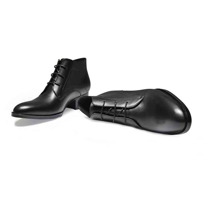 Haute top Talons De Ss18 Homme Rond Mode Cheville Bottes Cuir Véritable Chaussures Équitation En Cowboy 2018 Bout Formelle Noir Med Hommes Robe rdBCexo