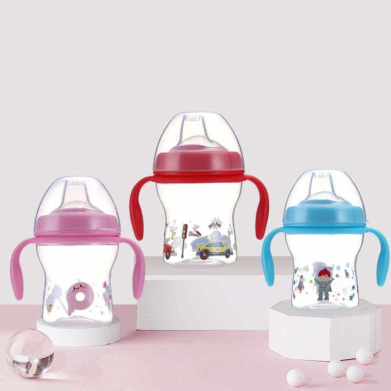 Taza flexible de 240ml, botella de seguridad antigoteo para niños, botellas de entrenamiento para bebés, botellas para beber, botella de agua leche, boca suave