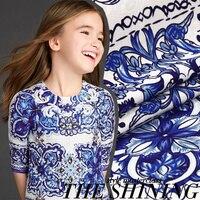 מותאם אישית-high-end כחול לבן פורצלן מודפס בד לנשים שמלה, בד אופנה החדש אקארד פרח דמשק תפירת DIY