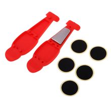 цена на Portable Bike Tire Repair Kit Nylon Levers Bicycle Tube Patches Tool Set for Road Bikes MTB BMX Bikes Red and Orange