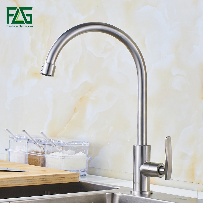 FLG Kitchen Faucets Brushed Nickel Brass Faucet Single handle Kitchen Sink Mixer Tap Torneira Cozinha 641-33 kitchen faucets brass deck kitchen sink faucet tall rotate spout single lever hole mixer water mixer tap torneira cozinha xt 104