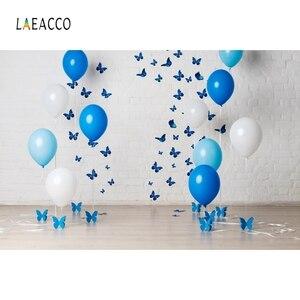 Image 5 - Laeacco ילדי יום הולדת Photophone לבן קיר בלוני דגלון הגה תמונה תפאורות תינוק דיוקן צילום רקעים