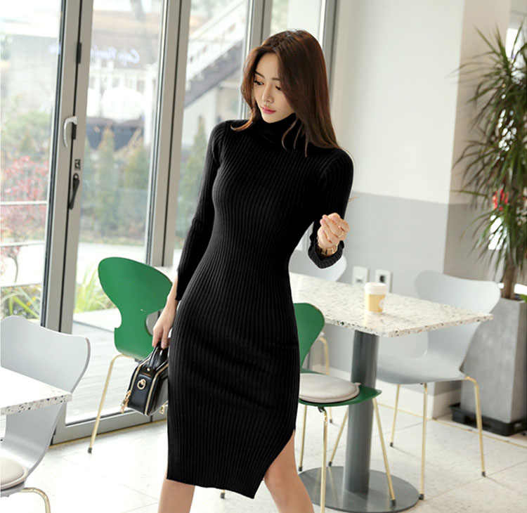 2613871968 ... Korean Women Long Sleeve Turtleneck Sweater Dress Mustard Double Split  Bodycon Knitted Dress Warm Knee- ...